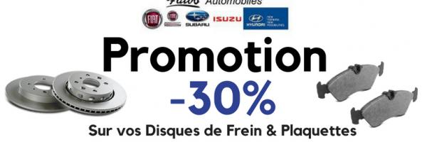 -30% sur vos Disques de frein & Plaquettes